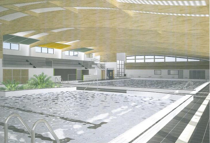 Vue 3D du hall bassins-CHM architectes